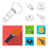 Radio, police officer badge, uniform cap, pistol.Police set collection icons in outline,flat style vector symbol stock. Illustration Royalty Free Stock Photos