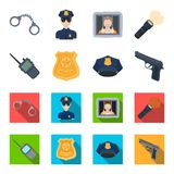 Radio, police officer`s badge, uniform cap, pistol.Police set collection icons in cartoon,flat style vector symbol stock. Illustration Royalty Free Stock Image