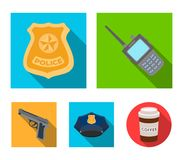 Radio, police officer`s badge, uniform cap, pistol.Police set collection icons in flat style vector symbol stock. Illustration Royalty Free Stock Image