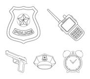 Radio, police officer`s badge, uniform cap, pistol.Police set collection icons in outline style vector symbol stock. Illustration Royalty Free Stock Photo