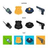 Radio, politiemankenteken, eenvormig GLB, pistool Pictogrammen van de politie de vastgestelde inzameling in beeldverhaal, zwart,  vector illustratie