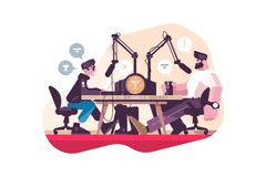 Radio presenter interviewing man at studio. Flat vector illustration. Professional radio station with microphone and other equipment. Mass media and royalty free illustration