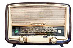 Radio-receiver. Old radio-receiver in mangy wooden body Royalty Free Stock Images