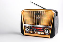 Radio receiver in retro style with audio player on white background Royalty Free Stock Photo