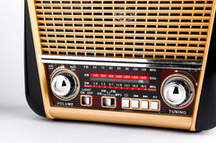 Radio receiver in retro style with audio player on white background Stock Photography