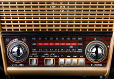 Radio receiver in retro style with radio dial and silver buttons Royalty Free Stock Images