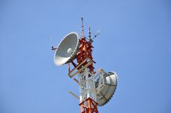 Radio relay antennas. For telecommunications royalty free stock photo