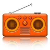 Radio retro. Orange retro stereo radio receiver isolated on white background royalty free illustration