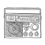 Radio  retro Boombox lineart cute art illustration Stock Images