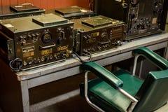 Radio room in bunker, Vietnam stock image