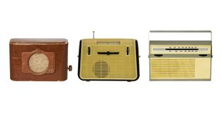 Radio-sets 1. Three old fashioned radio-sets over white 1 Stock Images