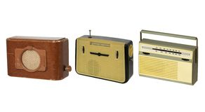 Radio-sets 2. Three old fashioned radio-sets over white 2 Stock Image