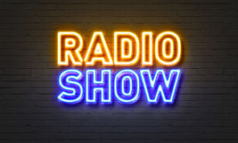 Radio show neon sign on brick wall background. Radio show neon sign on brick wall background Royalty Free Stock Photos