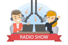 Radio show presenter. Radio show presenter with headset and microphones vector illustration