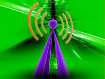 Radio signal. 3d renderd  Radio signal in COLOUR background Stock Image