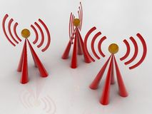 Radio signal. 3d renderd  Radio signal in white background Royalty Free Stock Photography