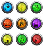 Radio signal icons set Stock Photography