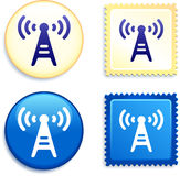 Radio Signal on Stamp and Button Royalty Free Stock Photo