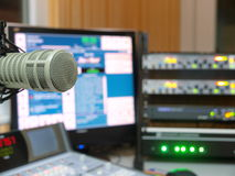 Radio station. Professional microphone in a radio station royalty free stock photo
