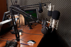 Radio station. Preparing the news broadcast, radio station Stock Photo