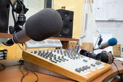 Radio station. Morning. Preparing the news broadcast Stock Images