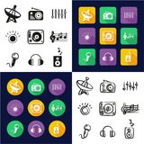 Radio Station All in One Icons Black & White Color Flat Design Freehand Set vector illustration