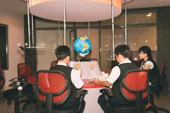 Radio station. Children hosting show on radio station, rear view Royalty Free Stock Photos
