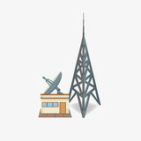 Radio station. Satellite dish. tower for broadcast. the building of the Studio Stock Images