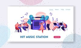 Radio Station Show Playing Music Landing Page. Presenter with Microphone and Headset in Record Studio. Woman in Dress Dancing. To Song Website or Web Page. Flat royalty free illustration