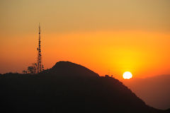 Radio station with sunset Stock Photo