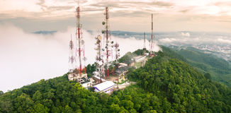 Radio station on the top of the mountain. In songkhla, Thailand Royalty Free Stock Photos