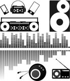 Radio Stereo Ipood. Monochrome composition about old and modern technology Stock Photography