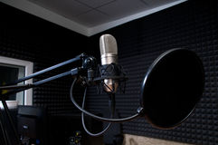 Radio studio. Preparing the news broadcast, radio studio Royalty Free Stock Image