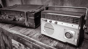 Radio and suitcases stock photo