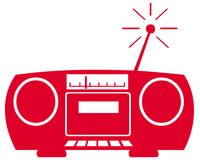 Radio symbol. Closeup of radio symbol on white background Royalty Free Stock Image
