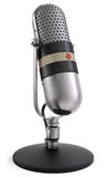 Radio Talk Microphone. A vintage themed 50's microphone with clipping path included for those who need a different background Stock Image