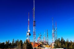 Radio telecommunication towers. This shot was taken in central New Mexico on top of the Sandia Crest elevation 10,679 Royalty Free Stock Images