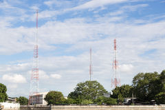 Radio and telecommunications poles Stock Images