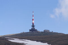 Radio telecommunications relay. Both civil and military telecommunication broadcast facility on top of Costila peak in Bucegi mountains, Romania, the highest Royalty Free Stock Image