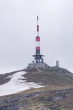 Radio telecommunications relay. Both civil and military telecommunication broadcast facility on top of Costila peak in Bucegi mountains, Romania, the highest Stock Photo