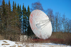 Radio telescope antenna close up in the sunny February afternoon. Pulkovo astronomical Observatory Royalty Free Stock Photography