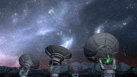 Radio telescope array night time-lapse. Radio telescope array, night time-lapse, static camera stock footage