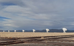 Radio Telescope Array with rails Royalty Free Stock Photography