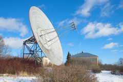 The radio telescope at the building of the Observatory of the Russian Academy of Sciences. Observato Royalty Free Stock Photo