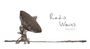 Radio Telescope Dishes Antenna. Vector Sketch Draw Stock Photos