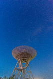 Radio telescope at the night sky Royalty Free Stock Photography
