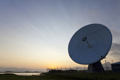 Radio Telescope at Sunset Stock Image