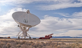 Radio Telescope with transport vehicle Royalty Free Stock Images