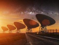 Radio Telescope view at night Stock Image