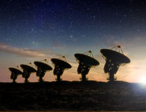 Radio Telescope view at night Stock Photos